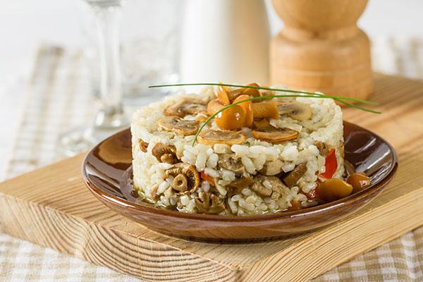Arroz con setas de temporada y foie gras